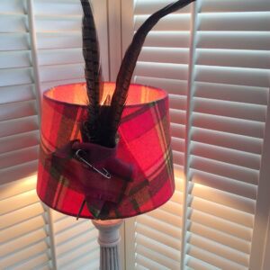 Cerise Pink  plaid with pheasant feathers