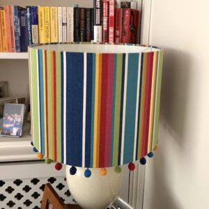 colour stripe pom pom handmade lampshade