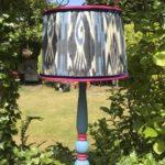 viola ikat pleated lampshade blue base