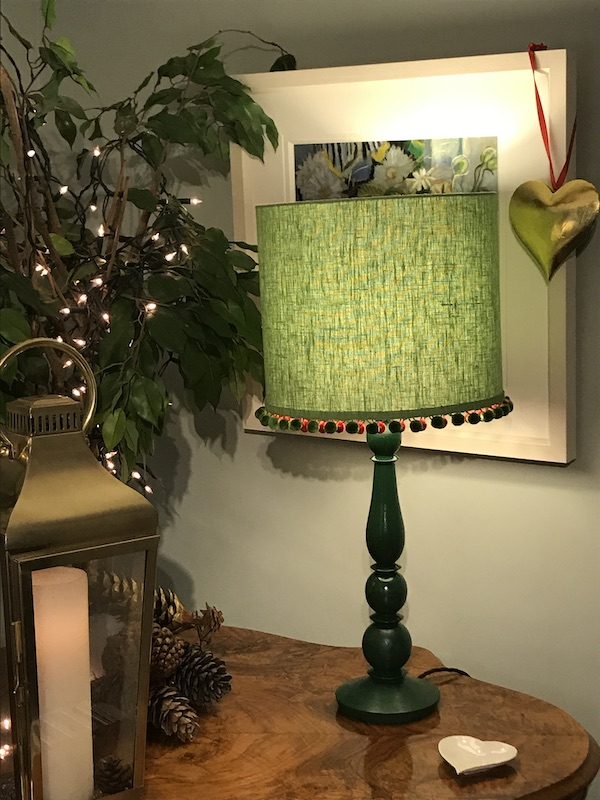 Christmas Tree - sage green linen with pom poms