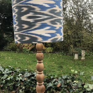 Dark Grey, Blue, Taupe and Ivory Ikat on natural wooden Lamp Base