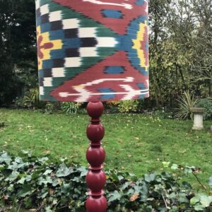 Dark Red, Green Multi coloured Ikat design with Matching Lamp Base