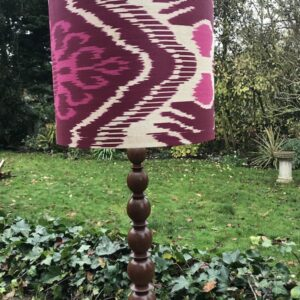 Claret, Cerise Pink & Taupe Ikat with Matching Lamp Base
