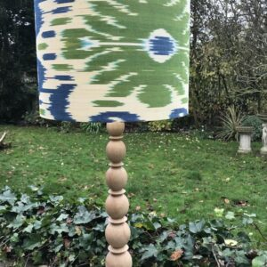 Sage Green & Denim Blue Ikat design on natural wood Lamp Base