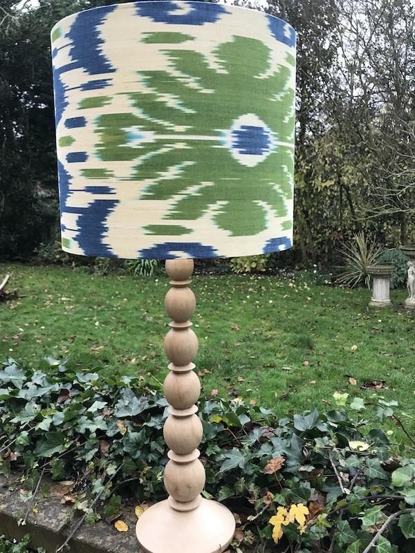 Sage Green & Denim Blue Ikat on natural wood lamp bas