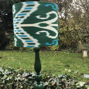Dark Green & Turquoise Ikat with Matching Lamp Base